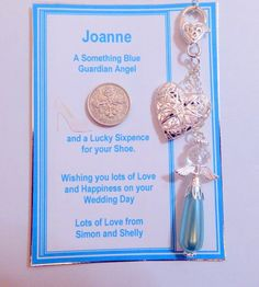 Alphabet Initial Christening Lucky Sixpence Pin Charm Blue Cross Angel Gift Box