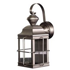 Carriage style is paired with auto dusk-to-dawn operation and a motion sensor in this brushed nickel outdoor wall light.