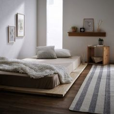 The Minimalistic Japanese Bedroom Theme Is Now Purchase Popularity And Distressing Into The World Of The Bedroom - House & Living Japanese Inspired Bedroom, Japanese Bedroom, Japanese Floor Bed, Japanese Home Decor, Bedroom Themes, Bedroom Decor, Bedroom Ideas, Bedroom Rustic, Minimalist Bedroom Small