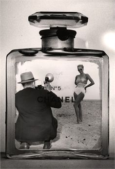 Clever Chanel ad, 1959. Love the swimsuit and sunnies! Coco's Secret by Niamh Greene, http://www.amazon.co.uk/dp/0241951984/ref=cm_sw_r_pi_dp_XVwasb0VETJQ6