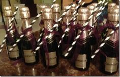 mini wedding day champagne bottles - limo bus or while getting ready!