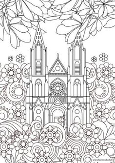 Basilica printable adult coloring page Blank Coloring Pages, Pattern Coloring Pages, Printable Adult Coloring Pages, Coloring Sheets, Coloring Books, Color Activities, Stencil Designs, Colorful Drawings, Illustration