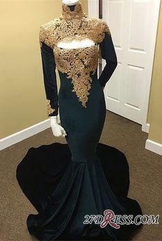 76cdd8bc84f Long Sleeve High Neck Prom Dress 2019 Mermaid Evening Dress With Appliques  Item Code  RM060