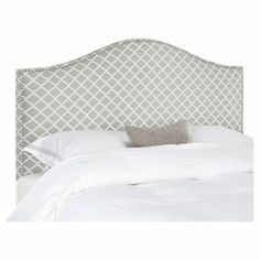 """Upholstered headboard with a camelback silhouette and nailhead trim.  Product: HeadboardConstruction Material: PlywoodColor: White and greyDimensions: Full: 54.1"""" H x 55.5"""" W x 4.1"""" D Queen: 54.5"""" H x 61.4"""" W x 4"""" DNote: Product includes headboard only"""