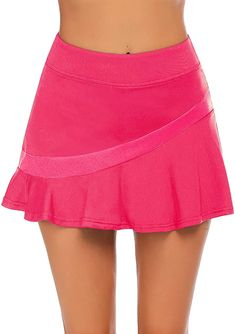 Ekouaer Athletic Skirts for Women with Shorts - Workout Running Golf Tennis Skorts with Pockets, Medium Rose Red at Amazon Women's Clothing store Tennis Workout, Workout Shorts, Trendy Summer Outfits, Summer Ootd, Athletic Skirts, Seamless Underwear, Tennis Skort, Athletic Women, Pleated Skirt