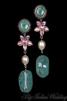 Alpana Gujral earrings with uncut emeralds and emerald drops