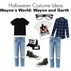 """Countdown to Halloween: Wanye and Garth from Waynes World"" by zerouv on Polyvore: RETRO CLEAR LENS NERD GEEK WAYFARER GLASSES 2873"