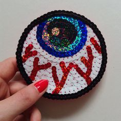 Eyeball Sequin Hand Embroidered Patch Appliqué.    Meticulously hand embroidered with the best quality sequins and felt.