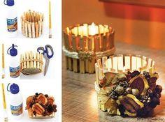 DIY Candle Holder - portacandele con mollette di legno