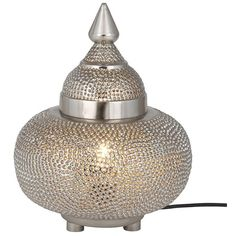 Silver Moroccan Patterned Table Lamp (170 AUD) ❤ liked on Polyvore featuring home, lighting, table lamps, silver lamps, moroccan lamp, silver table lamps, moroccan style lamps and silver lights