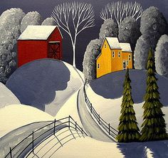 "indigodreams: ""Red Barn In Snow, Debbie Criswell "" Country Paintings, Paintings I Love, Tamara Lempicka, Fine Art Amerika, Autumn Painting, Country Art, Winter Art, Simple Art, Rock Art"