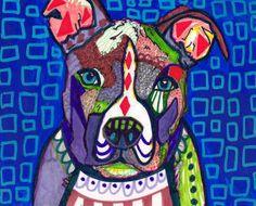 SALE ENDING  Pit Bull art Panel Poster of by HeatherGallerArt