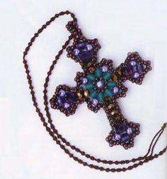 A wonderful embellished Cross. Kind of looks Byzantium or something. Cross Jewelry, Seed Bead Jewelry, Beaded Jewelry, Handmade Jewelry, Beaded Necklace, Beaded Bracelets, Necklaces, Jewellery, Seed Beads