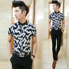 Hot Sale 2014 Slim Fit Perfect Print Short-sleeve Men Fancy Dress Shirts Factory Wholesale $22.88 Classy Fashion, Men's Fashion, Dress Shirts, Printed Shorts, Fancy Dress, Men's Style, Casual Shirts, Men Casual, Menswear