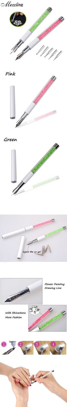 New 1pcs Nal Art Design Pen with 5pcs Dotting Heads Rhinestone Nail Painting Drawing Line Salon Nail Beauty Decoration Tools