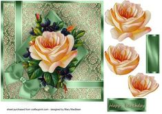 Blush Rose square decoupage card green