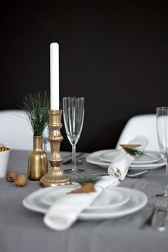 White, gold & green Christmas table! Remember: Candle Impressions makes the most authentic flameless taper candles available!