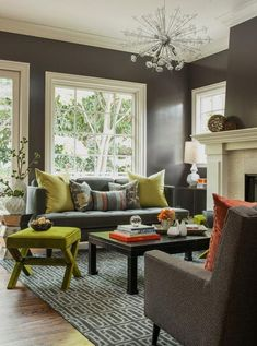 nice color combinations for the family room. Love the white trim on the windows against the grey walls.