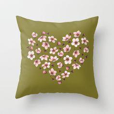 Cherry Blossom Heart Study Throw Pillow by Kate Halpin   #cherry #cherryblossom #botanicalart #pillow #cherryflower #pinkandgreen