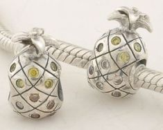 CLXS115 925 Sterling Silver Pineapple Yellow Crystal Pandora Charms beads Pandora Fruits
