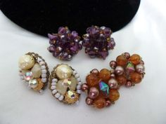 Vintage ART Glass & Lucite, Crystal BEAD 50s, 60s EARRINGS LOT Signed Germany