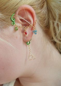 Legend of Zelda ear bend earring with hanging siritual stones and Triforce for $19.95 on TheUniqueVTBoutique's Etsy shop