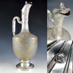 c1fdc5904a8 Antique Art Nouveau French Sterling Silver Cameo Glass Carafe