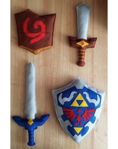 OoT Deku Shield 2, Kokiri Sword 1, Master Sword 2 and Hylian Shield 4.  Plush, soft, felt, prop for children's cosplay or display. Completely hand made and hand sewn. https://www.facebook.com/PProps