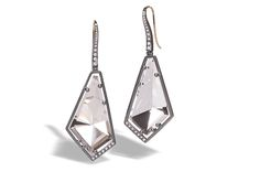 Trend tracking: rock crystal. These rock crystal gem link earrings by Elizabeth Garvin are made in blackened sterling silver with white diamonds ($2,860).