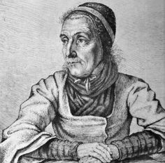 Portrait of Dorothea Viehmann, a primary source of many of the tales collected by Jacob and Wilhelm Grimm, pen and ink by Emil Ludwig Grimm, the third Grimm brother, before 1815.