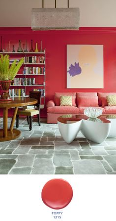 Featuring inspiration for red wall colours, modern red couches, red curtains, red living room furniture, and red living room accessories. Living Room New York, Living Room Red, Living Room Colors, Living Spaces, Central Park, Contemporary Family Rooms, Green Palette, Living Room Accessories, Red Rooms