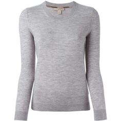 Burberry Brit Cashmere Sweater ($525) ❤ liked on Polyvore featuring tops, sweaters, grey, grey crew neck sweater, gray top, gray cashmere sweater, gray crew neck sweater and burberry