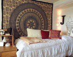 Northeastern University Dorm Room - Tapestry, Accent Pillows on Best Room Ideas 8219 Dorm Room Colors, Dorms Decor, Dorm Decorations, Room Tapestry, Mandala Tapestry, Hanging Tapestry, Tapestries, Dorm Design, Dorm Life