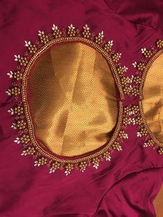 Srimathi Madhusudan Cutwork Blouse Designs, Kids Blouse Designs, Pattu Saree Blouse Designs, Simple Blouse Designs, Stylish Blouse Design, Hand Work Blouse Design, Embroidered Blouse, Indian Fashion, Bead