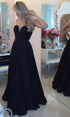 Sweetheart Black Staps Sheer Back With Buttons Prom Dress Floor Length Evening Gown on Luulla