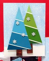 Cute winter scene using paint chips for trees. Directions given