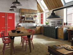 Fitted wood kitchen LAB 40 - COMPOSITION 02 Lab 40 Collection by Marchi Cucine