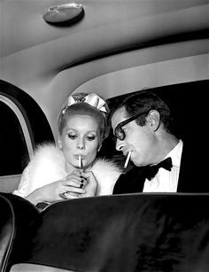 Backseat ciggies with Catherine Deneuve and Roger Vadim (when smoking was still healthy).
