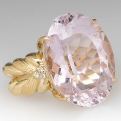 This beautiful Kunzite cocktail ring features lovely detailing and is crafted of yellow gold. The kunzite is very large and very pretty. There are three small diamonds on each side and the ring is in excellent condition. It is currently a size Pink Jewelry, Luxury Jewelry, Vintage Jewelry, Pink Sapphire, Yellow Diamonds, Pink Ring, Pandora Jewelry, Cocktail Rings, Beautiful Rings