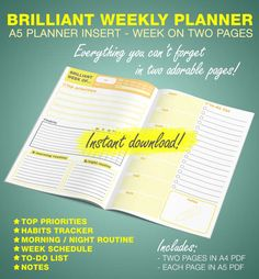 Brilliant Weekly Planner - A5 Printable Insert - You can use it in any kind of planner or just print in both sides and staple/sew it to make a notebook.   Everything you cant forget in two week pages!  - DATE AND QUOTE OF THE WEEK - TOP PRIORITIES - HABITS TRACKER - MORNING / NIGHT ROUTINE - WEEK SCHEDULE - TO-DO LIST - NOTES  Great space for what really matters, less is more!  ------------------------------------------------------------------  // FILES INCLUDED: 2 PDF Fil...