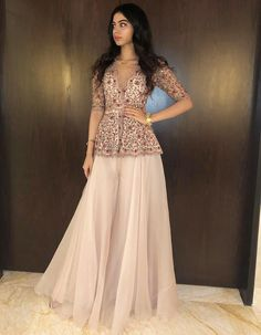 Khushi Kapoor for The Samba wedding in Bali. Khushi Kapoor for The Samba wedding in Bali. Sharara Designs, Lehenga Designs, Kurti Designs Party Wear, Desi Wedding Dresses, Indian Wedding Outfits, Party Wear Dresses, Indian Outfits, Bridal Outfits, Vogue India