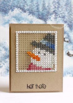 Hey There card by Karin Akesdotter for Paper Smooches #hello #hellocard #karinakesdotter #papersmooches #snowman