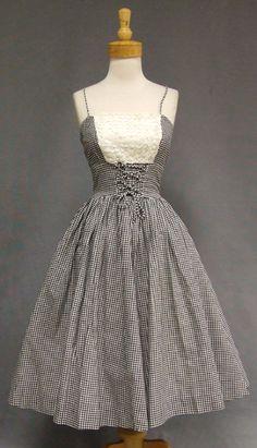 "Black & White Gingham Corset Waist Sun Dress w/ Ruffled Lace  Label reads, ""Martin Berens. Tall Fashions of California."""