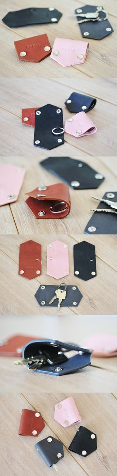 This compact stylish leather case by can hold keys and will be a lovely accessory for your handbag or backpack. Handmade Leather Wallet, Leather Gifts, Leather Keychain, Leather Key Holder, Leather Key Case, Sewing Leather, Leather Craft, Leather Workshop, Leather Accessories