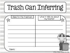 Freebie: Trash Can Inferring  This works really well - It'd be cool to do an activity like this with my purse or something like that