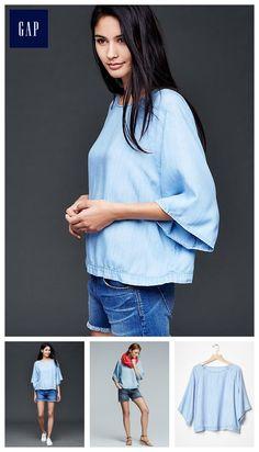 1969 Tencel® denim flutter top, size Medium - I like this shirt, maybe a bit longer