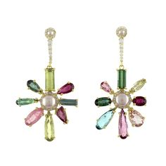 Style Code - Tourmaline cts, Pearl, Dia cts Earrings set in Yellow Gold From top to bottom: in. Tourmaline Earrings, Earring Set, Belly Button Rings, Fine Jewelry, Drop Earrings, Pearls, Floral, Gold, Style