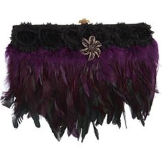 Inspired by Claire Jane Dark Drama Feather Purse
