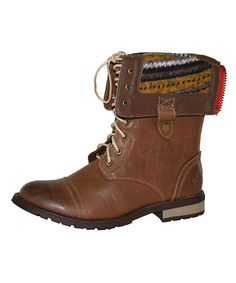 Take a look at this Cognac Pistol Foldover Boot by Groove Footwear on #zulily today!