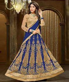 Buy Blue Banglori Silk Wedding Lehenga Choli 72645 online at best price from vast collection of Lehenga Choli and Chaniya Choli at Indianclothstore.com.